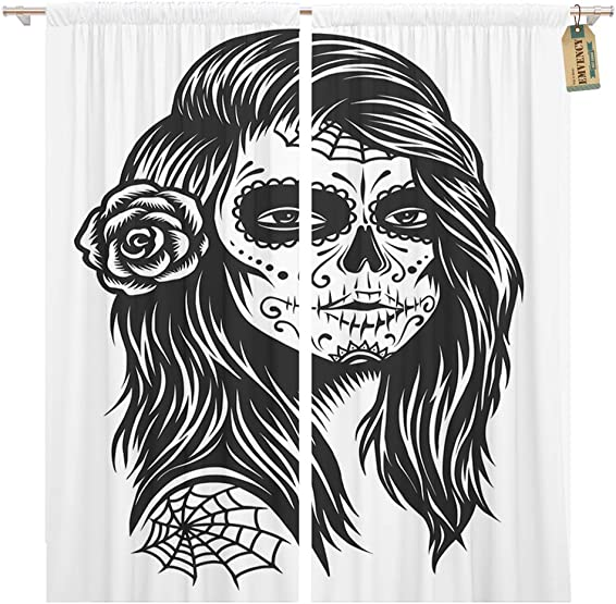 Golee Window Curtain Black and White Skull Girl Rose in Hairs Home Decor Pocket Drapes 2 Panels Curtain 104 x 96 inches