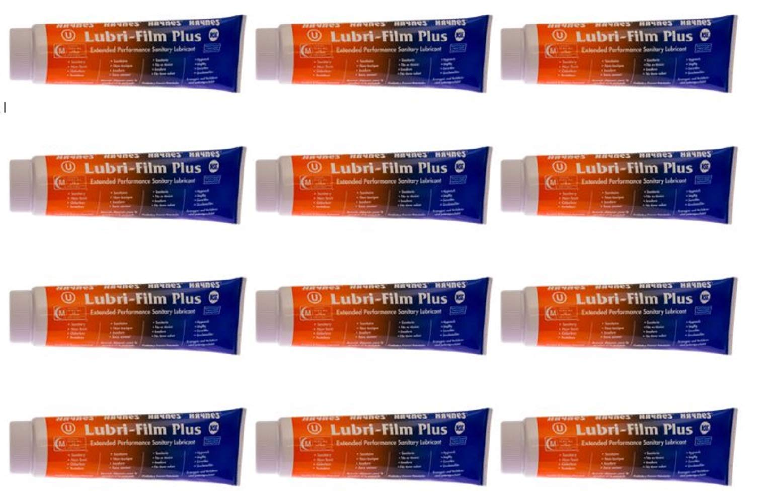 Haynes Lubri-Film Plus, 4 oz Tube, Extended Performance Sanitary Lubricant, Pack of 12 Tubes