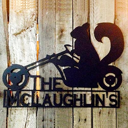 Squirrel on a Motorcycle with Custom Text Field Metal Wall Art H9