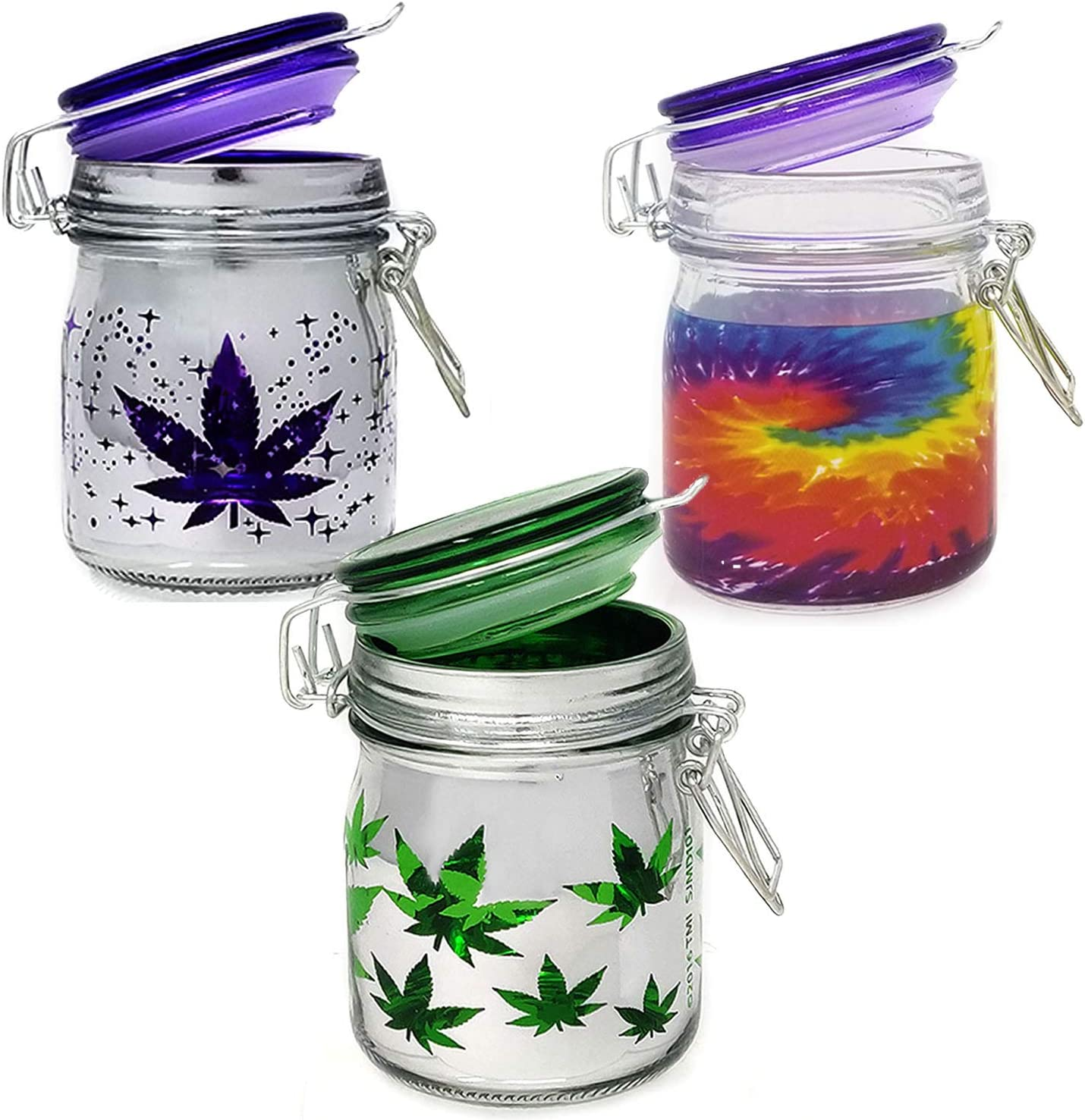 Airtight Glass Herb Large Stash Jar Set Of 3 Pot Leaf Tie Dye And Purple Leaf Galaxy Metallic Silver Designs 5oz Amazon Ca Tools Home Improvement