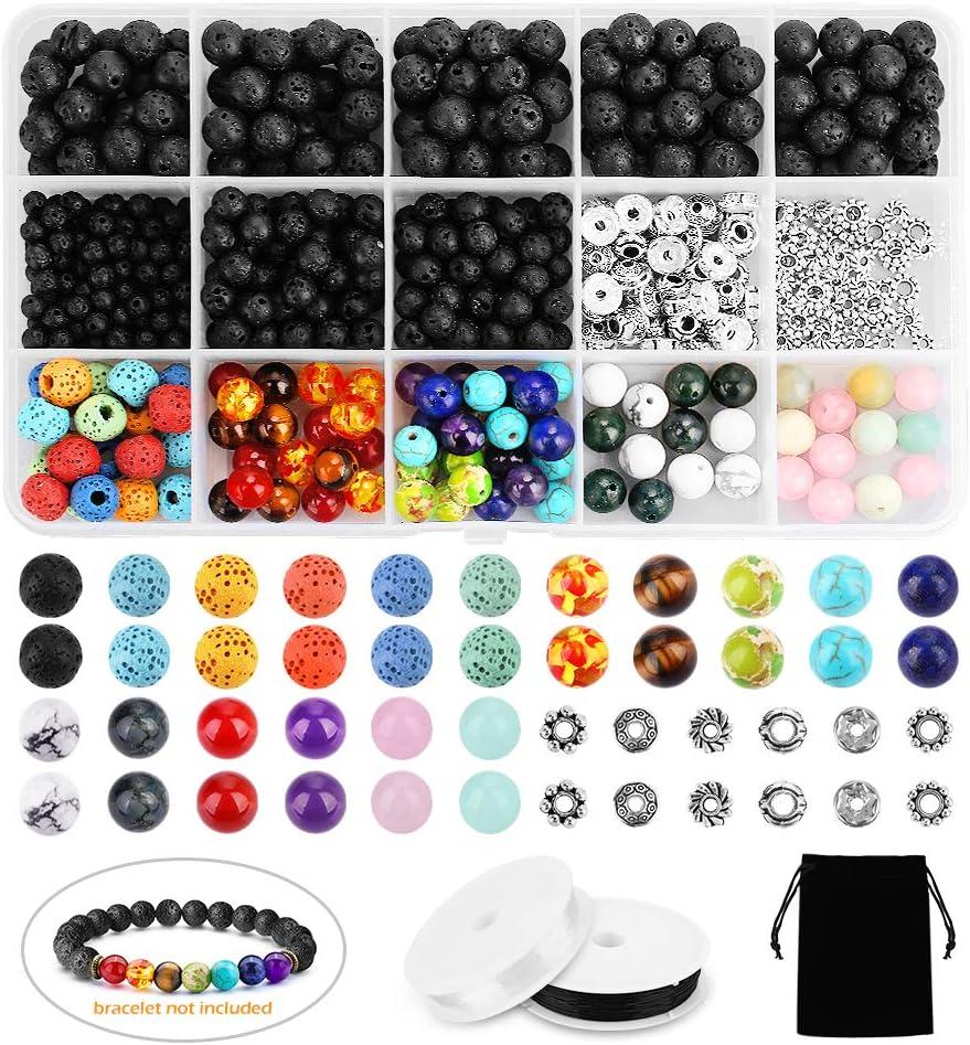 Lava Beads SOLED 526PCS Lava Bead Set Rock Stone, Chakra Beads, cristales en polvo, ágata aguamarina, pino blanco, bricolaje de la amistad Pulseras, pendientes, collares y otras joyas