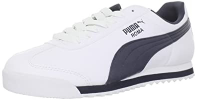 PUMA Men's Roma Basic Fashion Sneaker, White/New Navy - 4.5 D(M