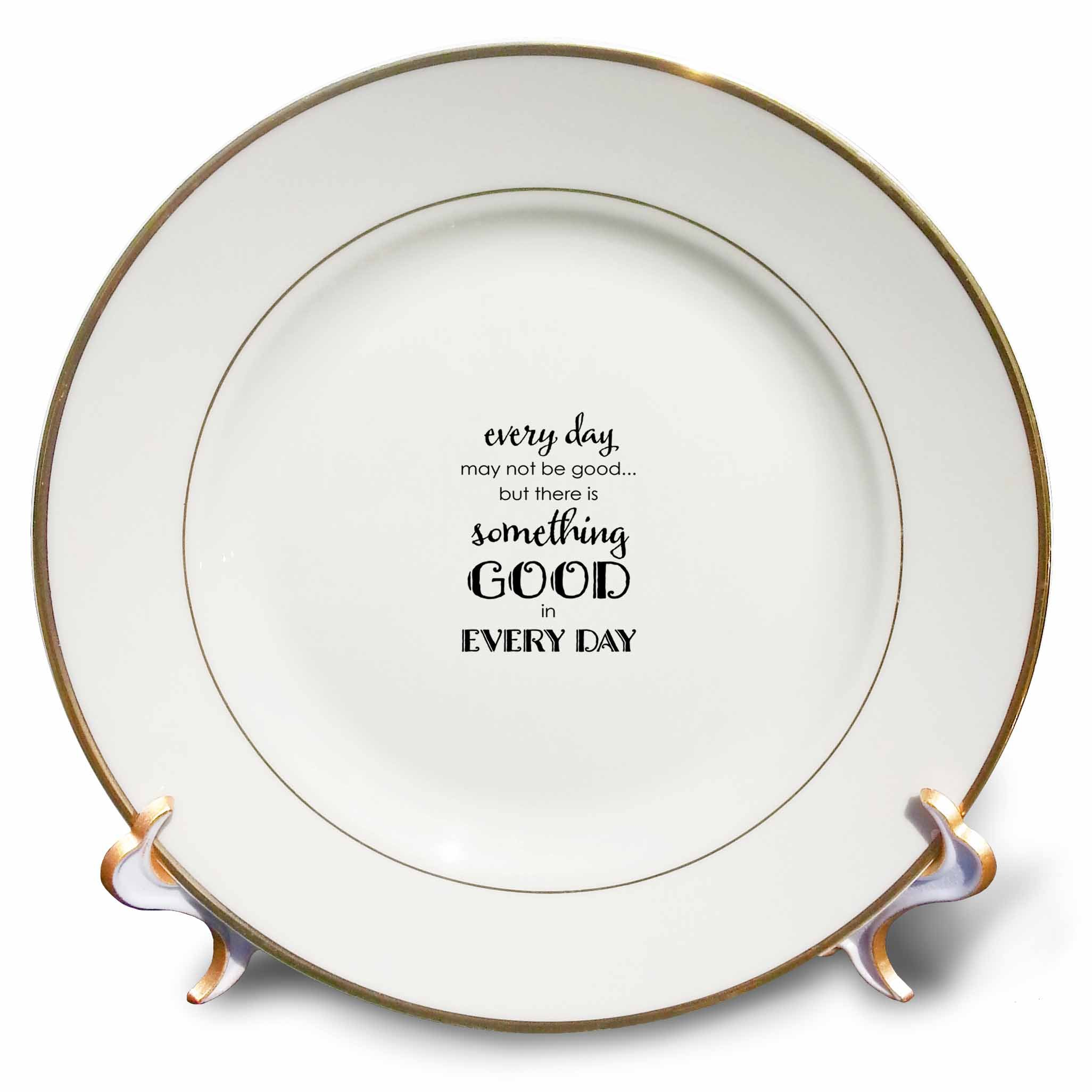 3dRose Uta Naumann Sayings and Typography - Bible Proverb Motivational Typography - Something Good In Every Day - 8 inch Porcelain Plate (cp_275144_1)