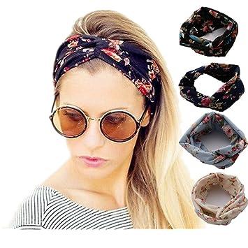 Amazon.com   4 Pack Women Headband Boho Floal Fashion Style Criss Cross  Head Wrap Hair Band (colorful)   Beauty 8d5e20fcd73