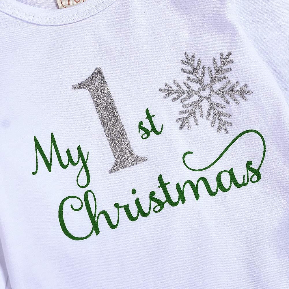 Hongyuangl 4 Pezzi Natale Bambino Bambina Manica Lunga My First Christmas Pagliaccetto Snow Body e Pantaloni a Righe e Cappello e Fascia 0-24 Mesi