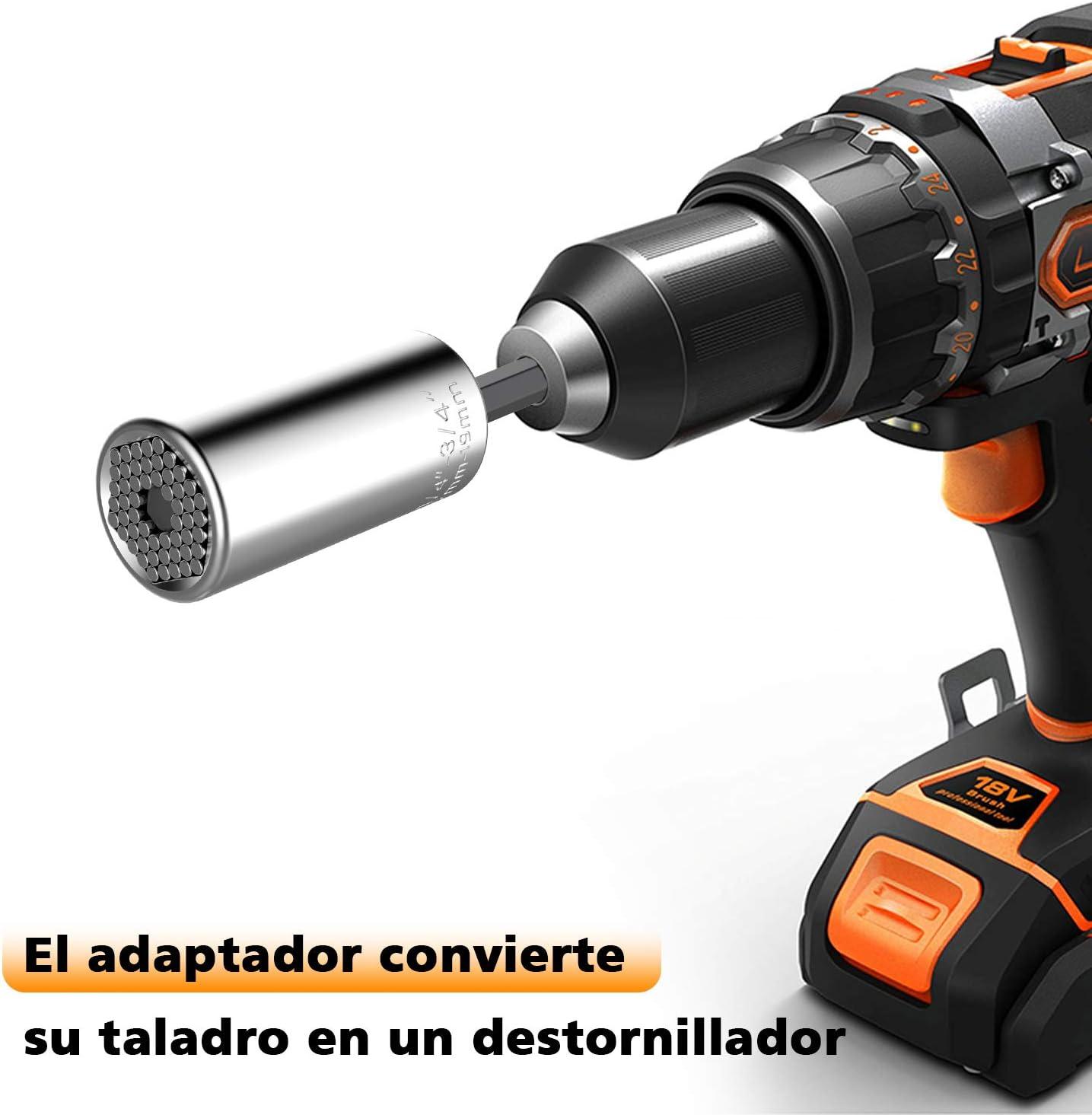 Ymwave Llave de Tubo Universa para tuercas 7-19mm con Adaptador Multifuncional Kit de Reparaci/ón de Herramientas para Taladro el/éctrico