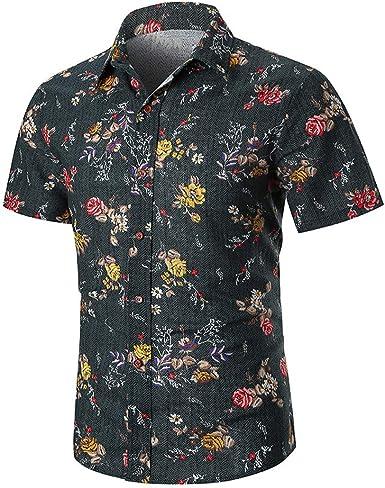 2019 Nuevo Verano Hombre Manga Corta Playa Camisas Hawaianas de algodón Casual Camisas de Flores Camisa Masculina Regular Plus tamaño: Amazon.es: Ropa y accesorios