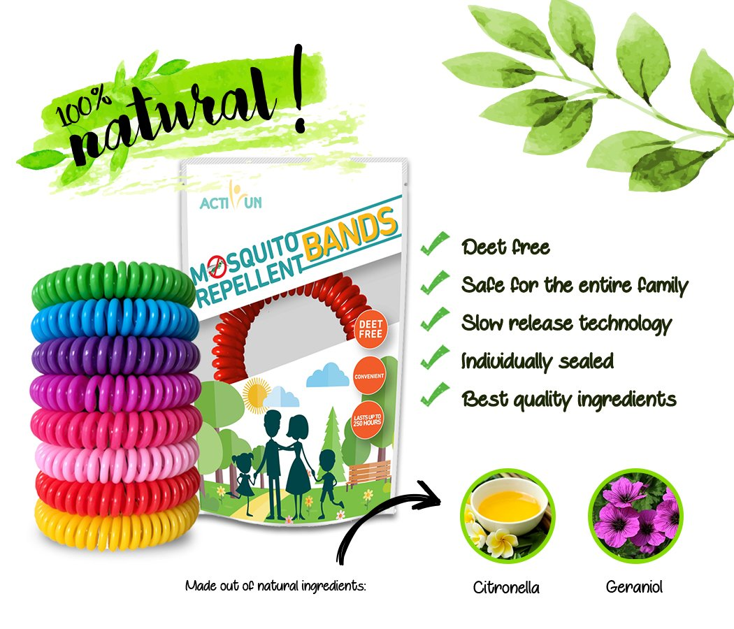 Mosquito Repellent Bracelet | 20 Pack | Natural Waterproof Camping Accessories Deet-Free Band Bug and Insect Protection Safe for Kids, Adults and Pets