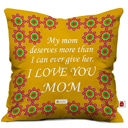 Buy Indigifts I Love You Mom Colorful Cushion Cover with