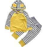 Baby Boys Girls Long Sleeve Fox Design Hoody Tops+Stripe Leggings Pants Outfits
