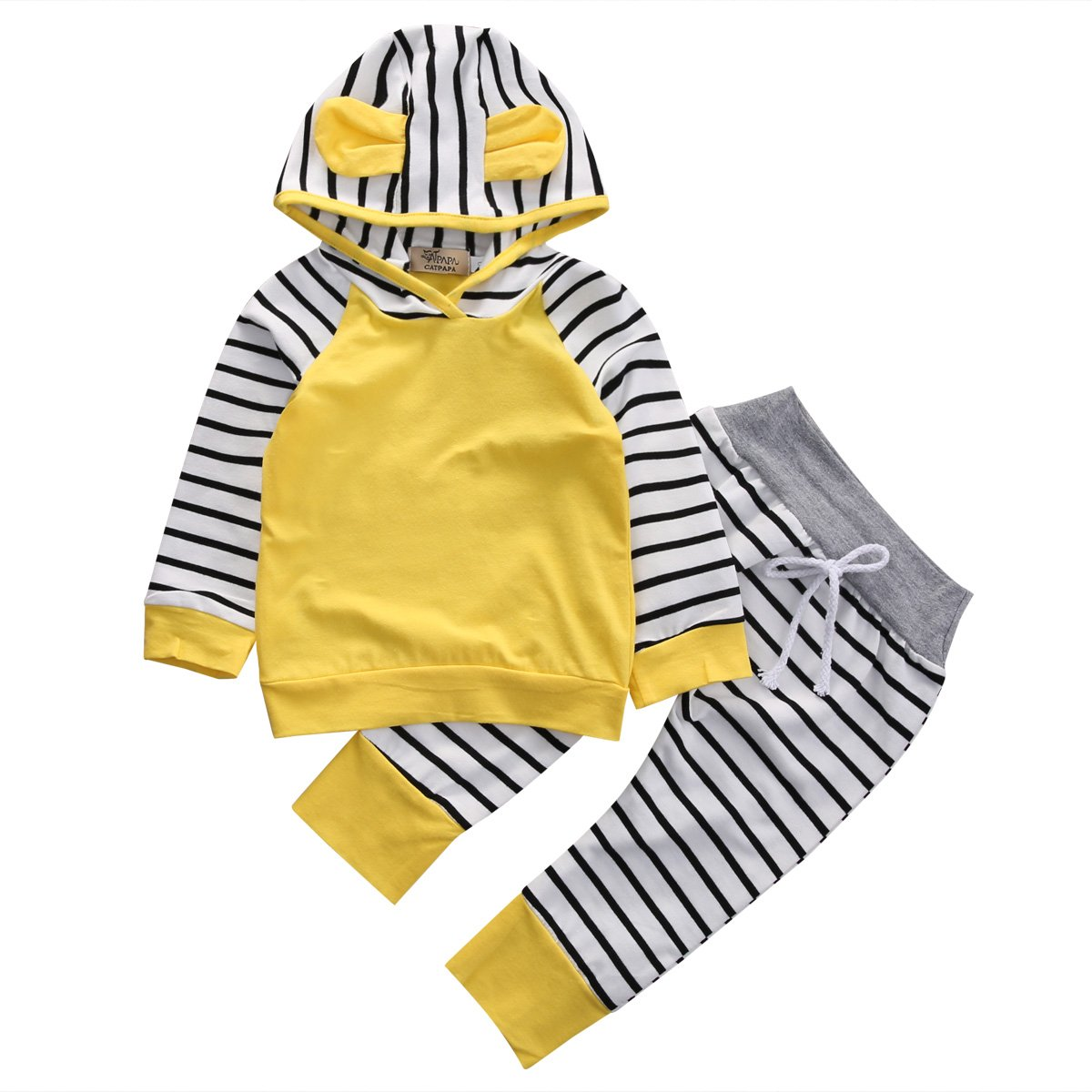 honeys Infant Baby Boy Girl 2pcs Set Cute Hat Long Sleeve Hoodie+Striped Pants Outfit