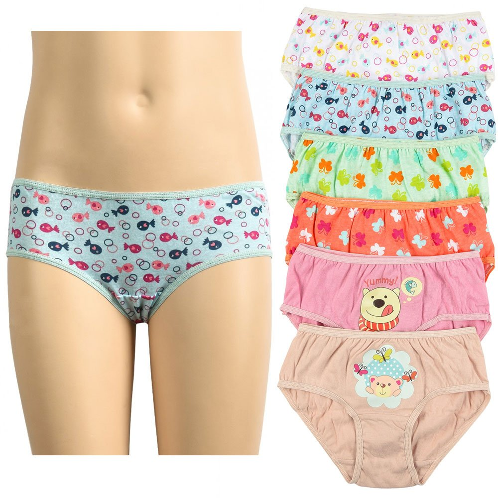 6 Pc Girls Panties 100/% Cotton Underwear Cute Children Panty Stretch Kids Size L