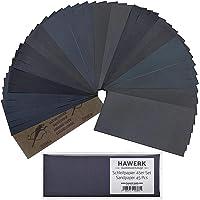 HAWERK Professionele Schuurpapier Set 80-3000 korrel - 45 Stuks - Nat en Droog - Fijn Schuur Papier voor Auto Hout…