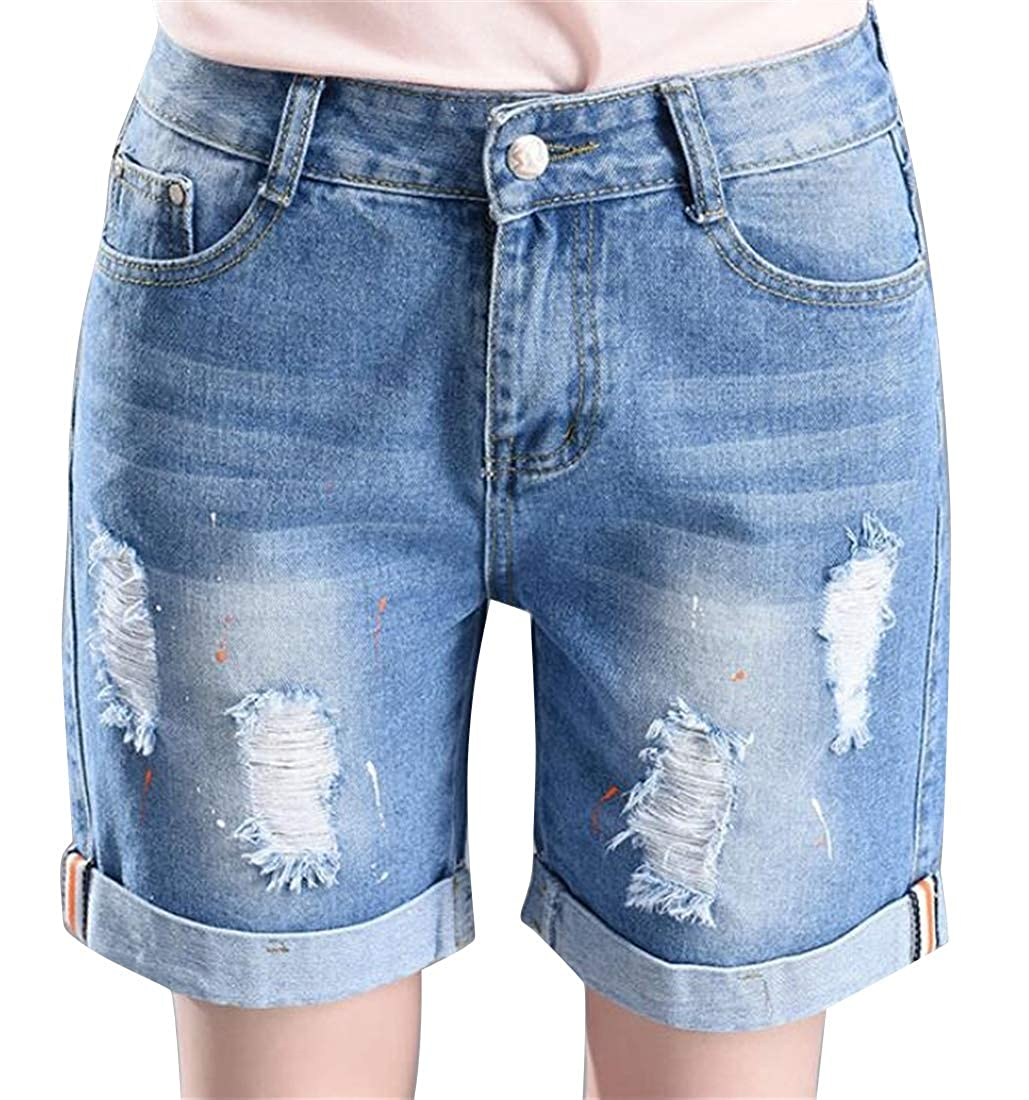 SHOWNO Womens Ripped Distressed Mid Waisted Washed Summer Plus Size Baggy Denim Shorts Jeans Hot Pants