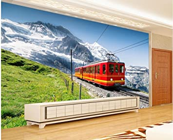 Lwcx Custom 3d Wallpaper Home Decoration Alpine Tunnels Bus Fresco