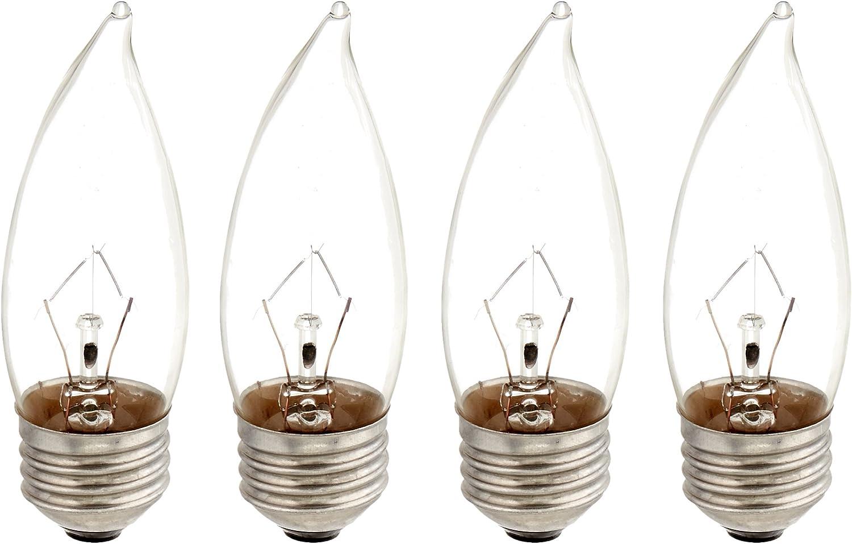 Philips 167601 40-watt BA9.5 DuraMax Clear Decorative Medium Base Candle Light Bulb, 4-Pack