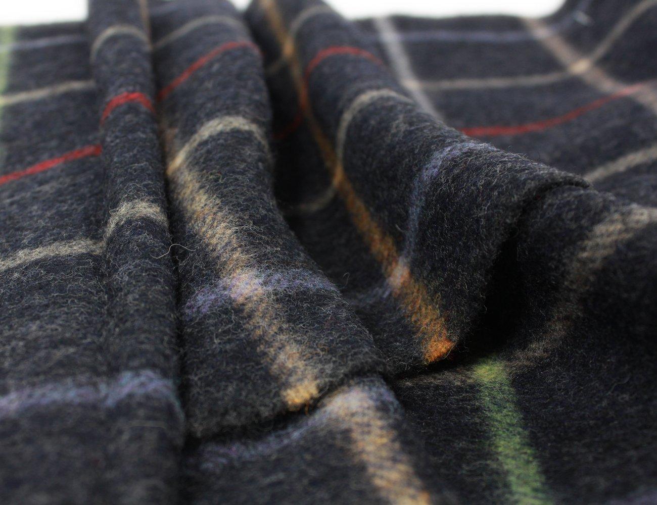 "Irish Wool Scarf Lambswool Navy Plaid 63"" x 12"" Made in Ireland by John Hanly (Image #4)"