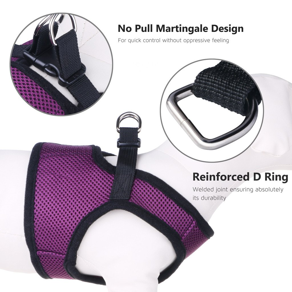 Small Dog Harness No Pull, PETBABA Soft Mesh Choke Free Chest Vest