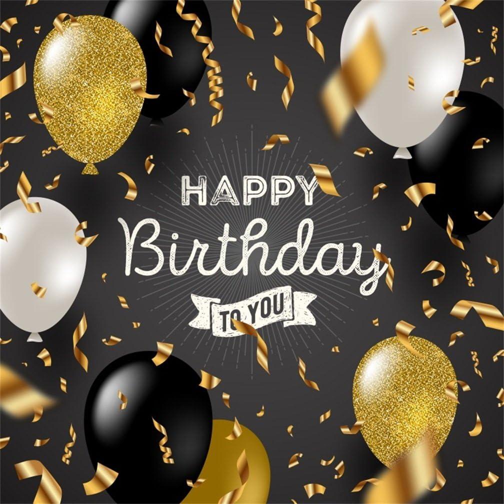 Amazon.com : CSFOTO 8x8ft Happy Birthday Backdrop Black and Golden Birthday  Party Background for Photography Adult Birthday Photo Wallpaper : Camera &  Photo