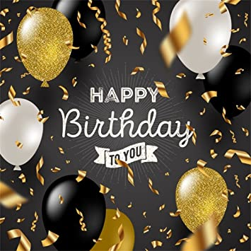 Csfoto 8x8ft Background For Happy Birthday To You Photography Backdrop Adult Birthday Party Decor Gold Black White Balloon Noble Ornament Confetti