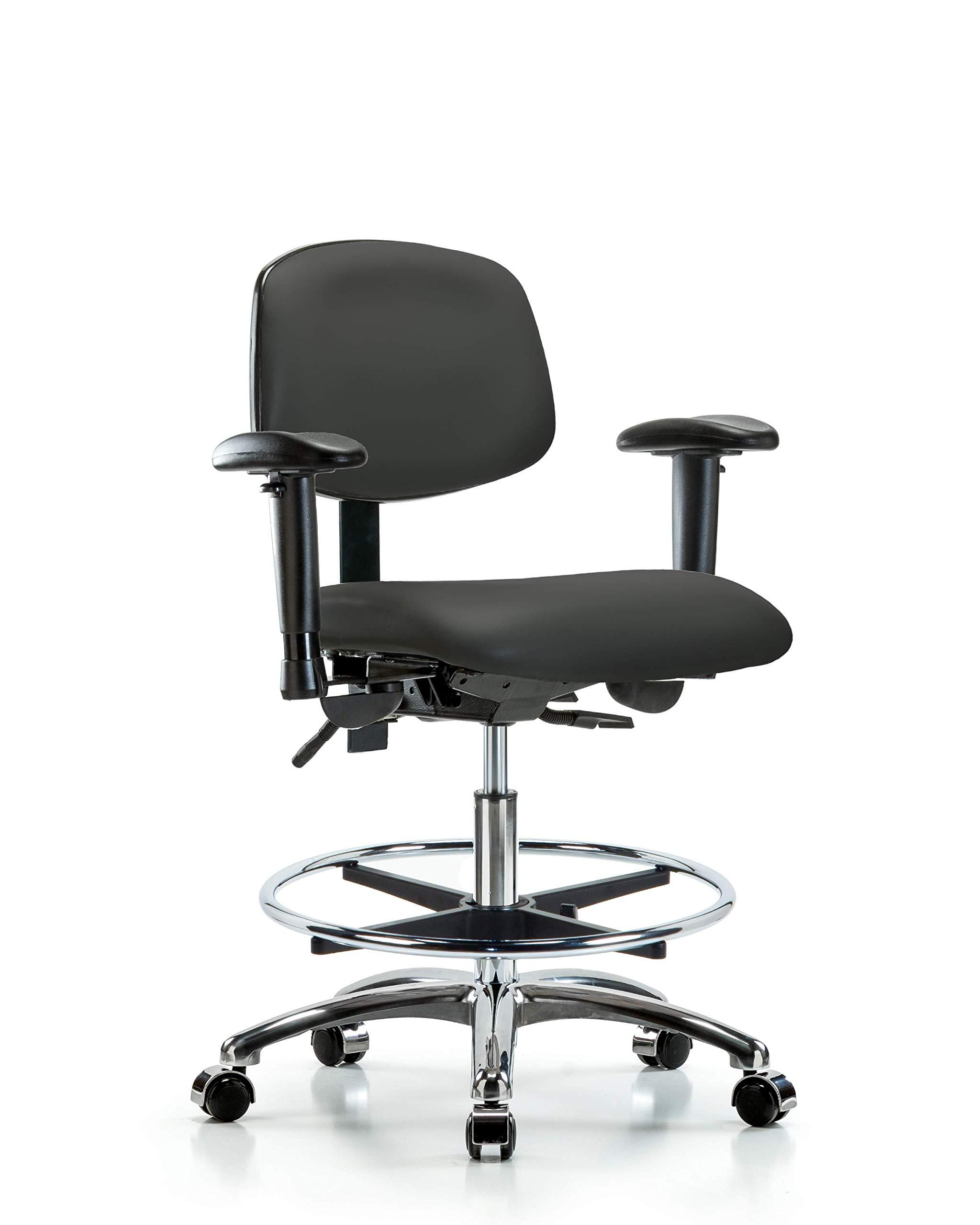 LabTech Seating LT45432 Medium Bench Chair, Vinyl, Chrome Base, Tilt, Arms, Chrome Foot Ring, Chrome Casters, Charcoal