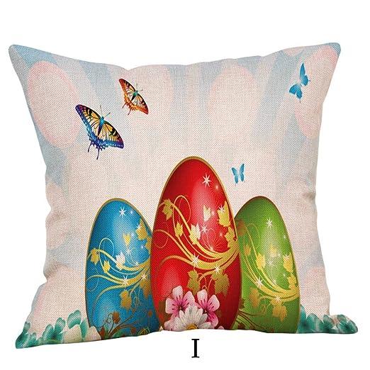 LEEDY Happy Easter Fundas de Almohadas Sofá de Lino Funda de ...