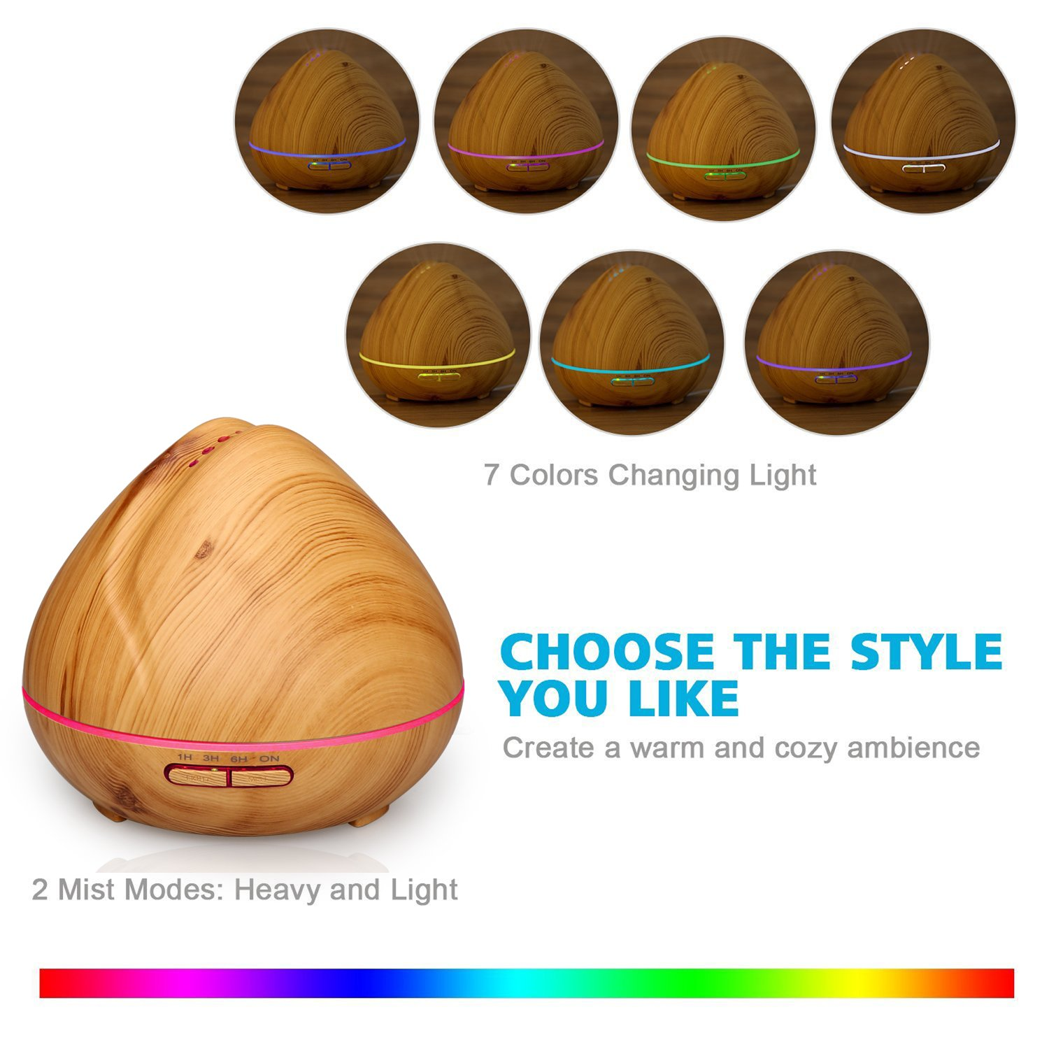 Qkfly Aromatherapy Essential Oil Diffuser Aroma Diffuser Ultrasonic Cool Mist Humidifier with 7 Color LED Lights Changing Waterless Auto Shut Off for Home Office Bedroom Room 400ml Wood Grain by Qkfly (Image #3)