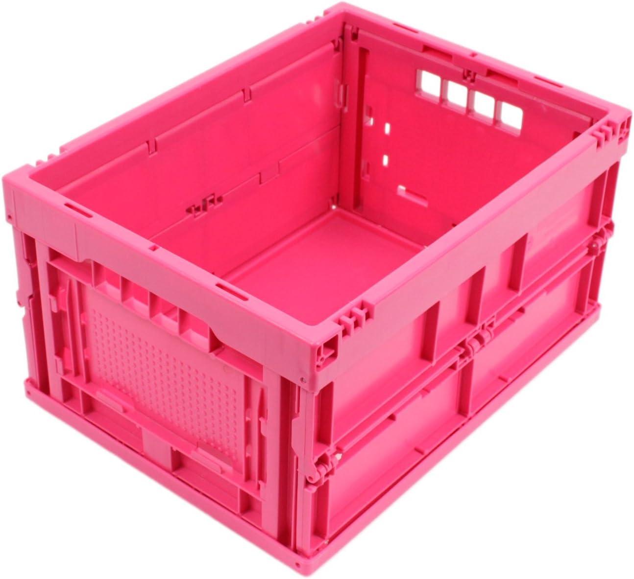 CAJA PLEGABLE 20L, caja plegable de plastico, pequeña caja de transporte, cesta de la compra, 40x30x22 cm, rosa: Amazon.es: Bricolaje y herramientas