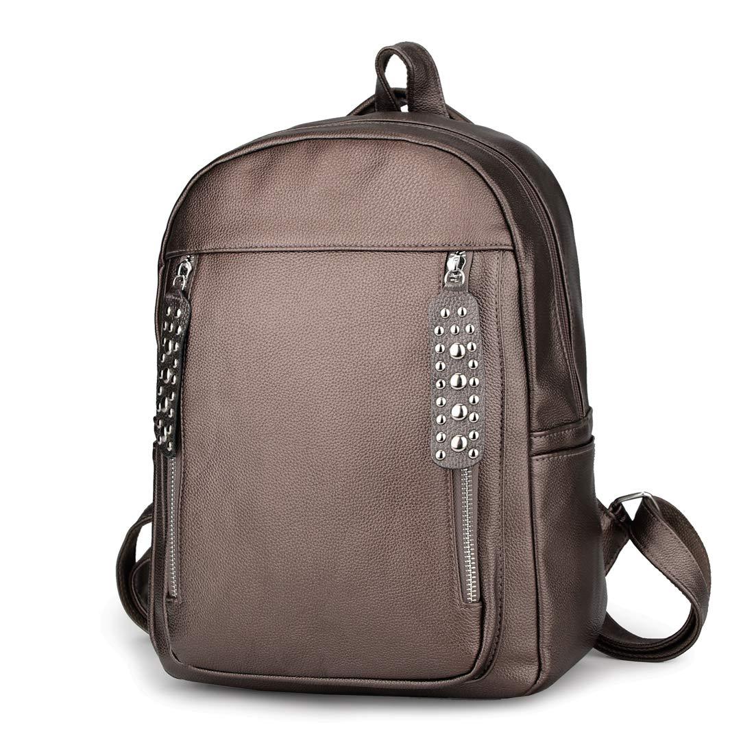 9f7c099ae062 Artwell Women Backpack Purse PU Leather Rivet Zipper Rucksack Lightweight  School Shoulder Bag for Girls (Bronze)