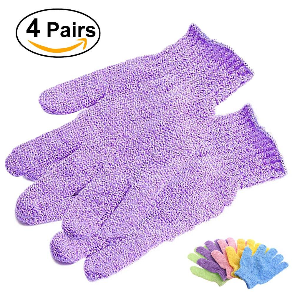 Frcolor 4 Paare Duschen Peeling Bath Handschuhe Nylon Dusche Handschuhe Body Scrub Peeling
