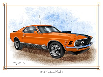 Amazon 1970 Ford Mustang Mach 1 Muscle Car Art Print Orange