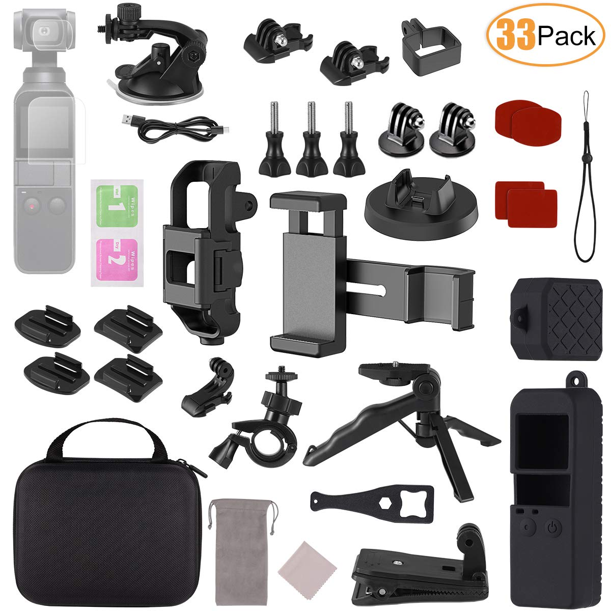 Aotnex Expansion Accessories Kit 33 Pack for DJI Osmo Pocket Handheld Camera Including Osmo Pocket Phone Clip Mount and Tripod Holder with Travel Case for Easy Organization