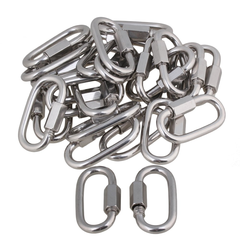 CNBTR M5 304 Stainless Steel Quick Link Screw Lock Ring Carabiner Hook Set of 25