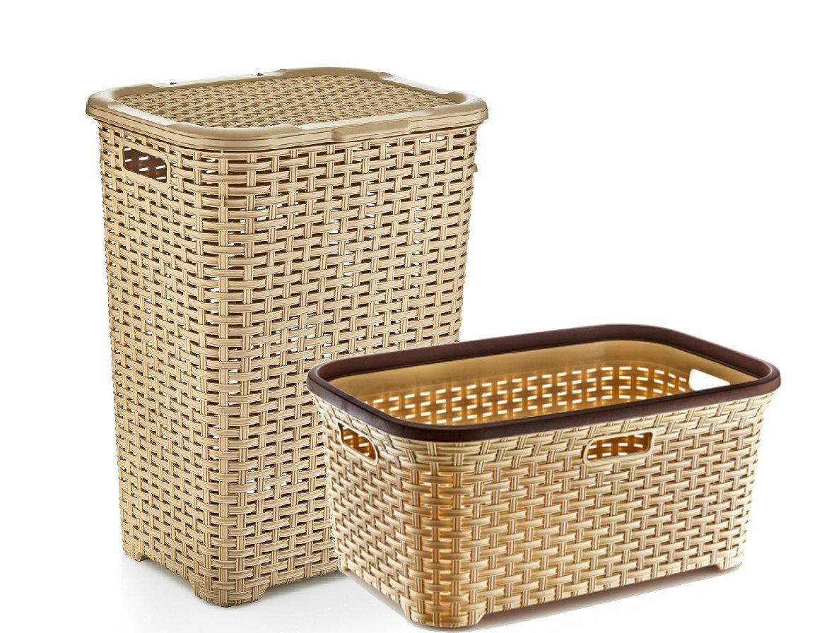 Rattan Lace Style, Bathroom Set: Hamper + Basket + 12L Pedal Bin [beige] Stolmet