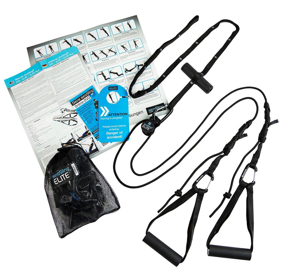 aeroSling ELITE - Sling Trainer mit Umlenkrolle und Türanker | Schlingentrainer inklusive Online-DVD und Poster | Fitness-Gerät für Krafttraining und Koordination product image