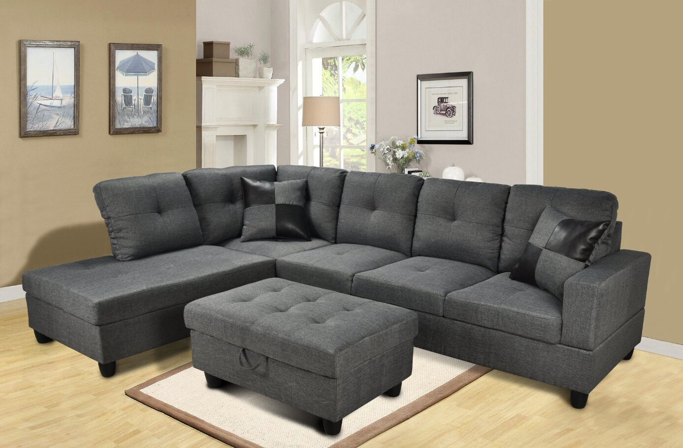Amazon.com: Beverly Furniture 3 Piece Microfiber And Faux Leather  Upholstery Right Facing Sectional Sofa Set With Storage Ottoman, Gray:  Kitchen U0026 Dining