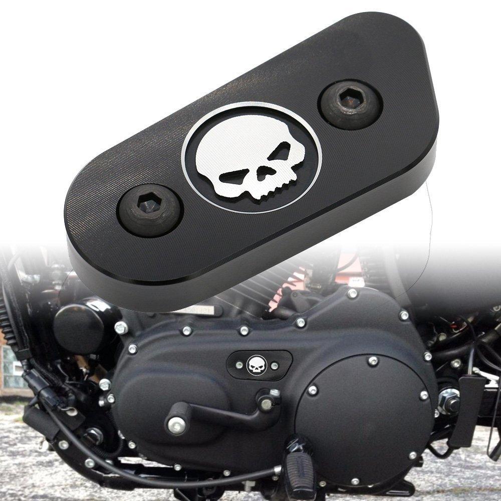 Frenshion Motorcycle CNC Protezione Guardia Catena Coperchio Chrome Skull Proteggi Per Harley Davidson Sportster XL 883 1200 2014 2015 2016 Nero