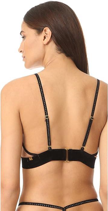 aa0788e71c80 For Love & Lemons Women's Rylee Rose Long Line Bralette, Black, X ...