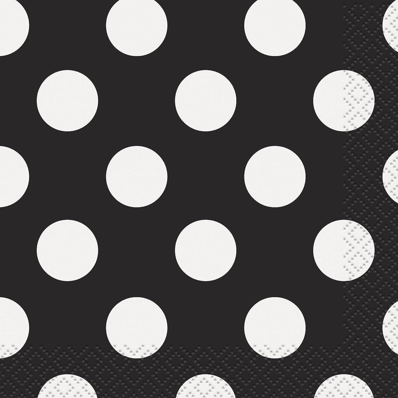 Black Polka Dot Beverage Napkins, 16ct