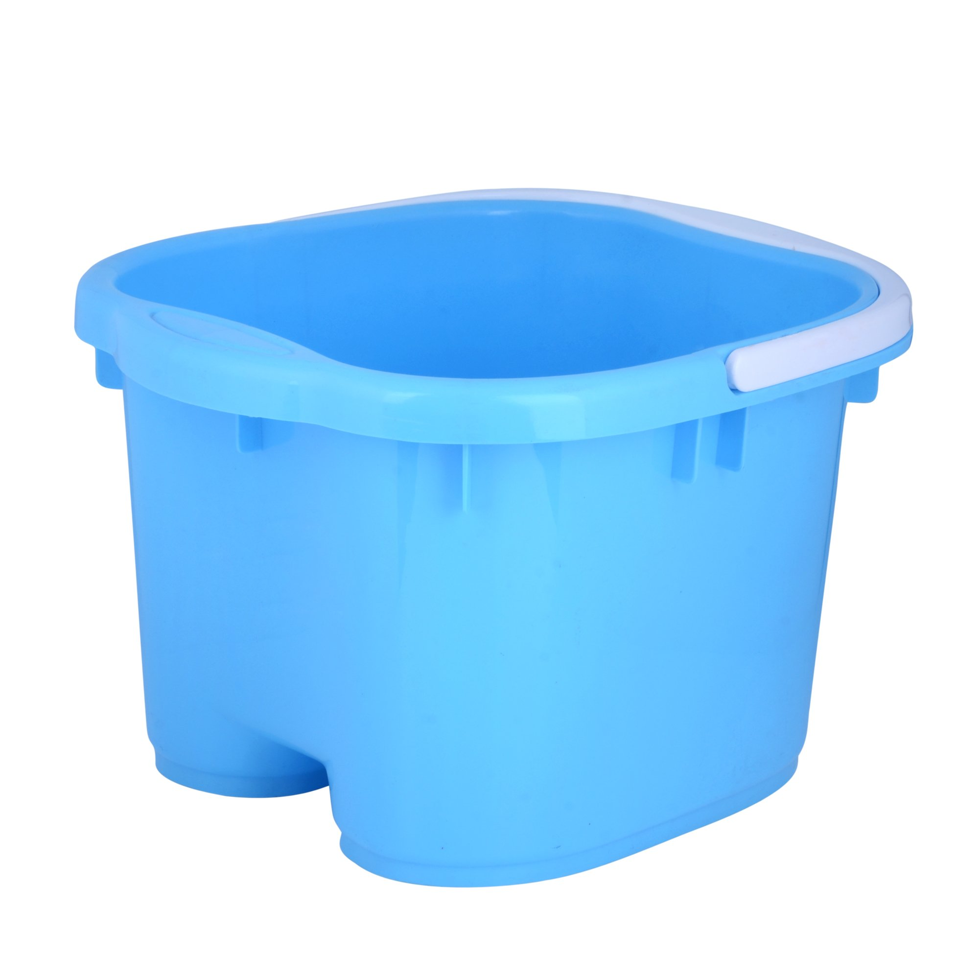 Foot Spa Bucket with Handle and Removable Rollers for Massage (Blue)