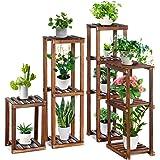 "TOOCA Wood Plant Stand Indoor, 4-Piece-Set 16""/27""/35""/38"" Flexible Combination Tall Plant Flower Pot Stands, Outdoor Corner"