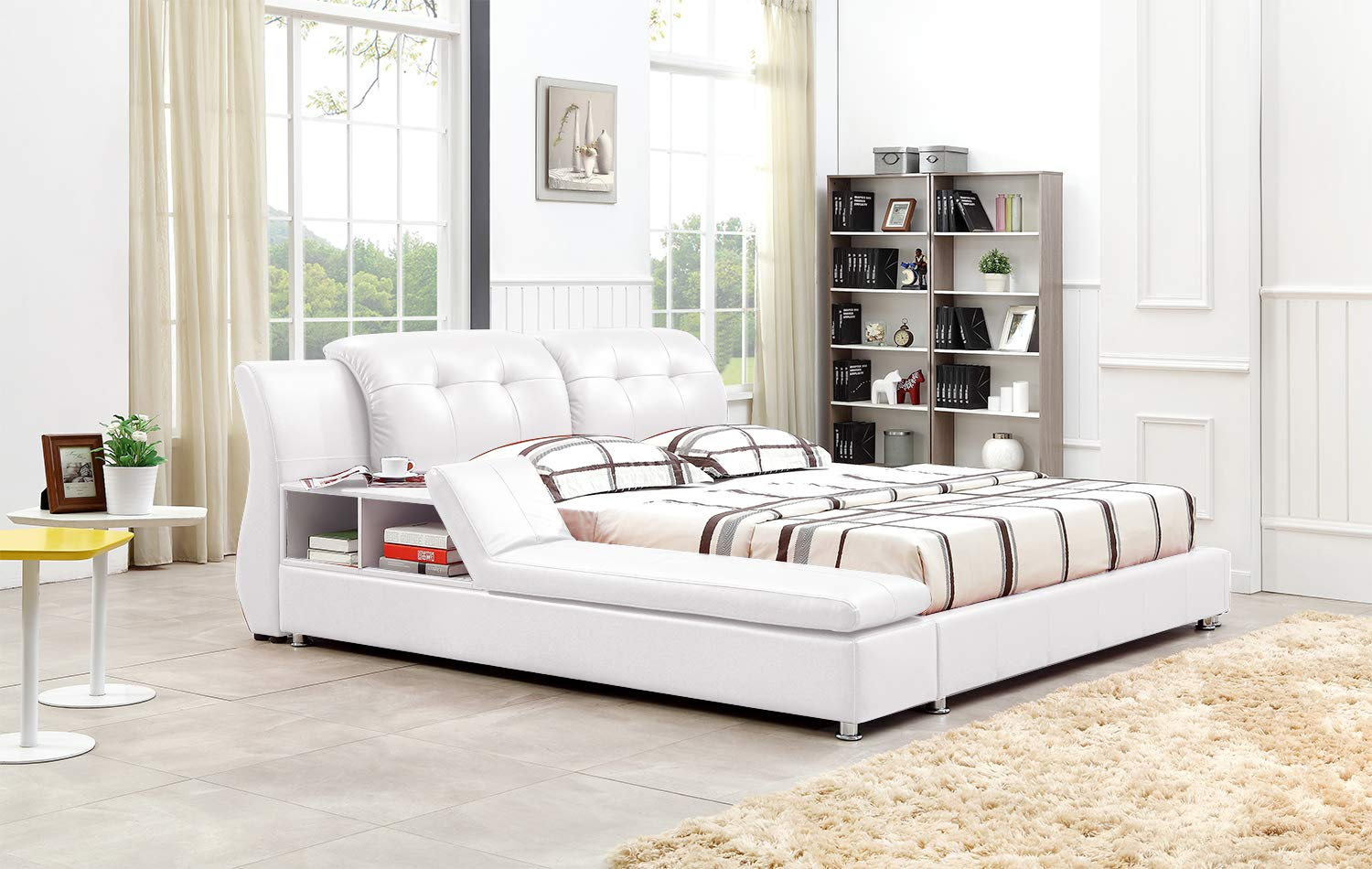 Greatime B2003 Platform Bed (Queen, White) by GREATIME