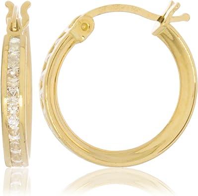 14k Yellow Gold Hoop Earrings 0.9 Inch Diameter