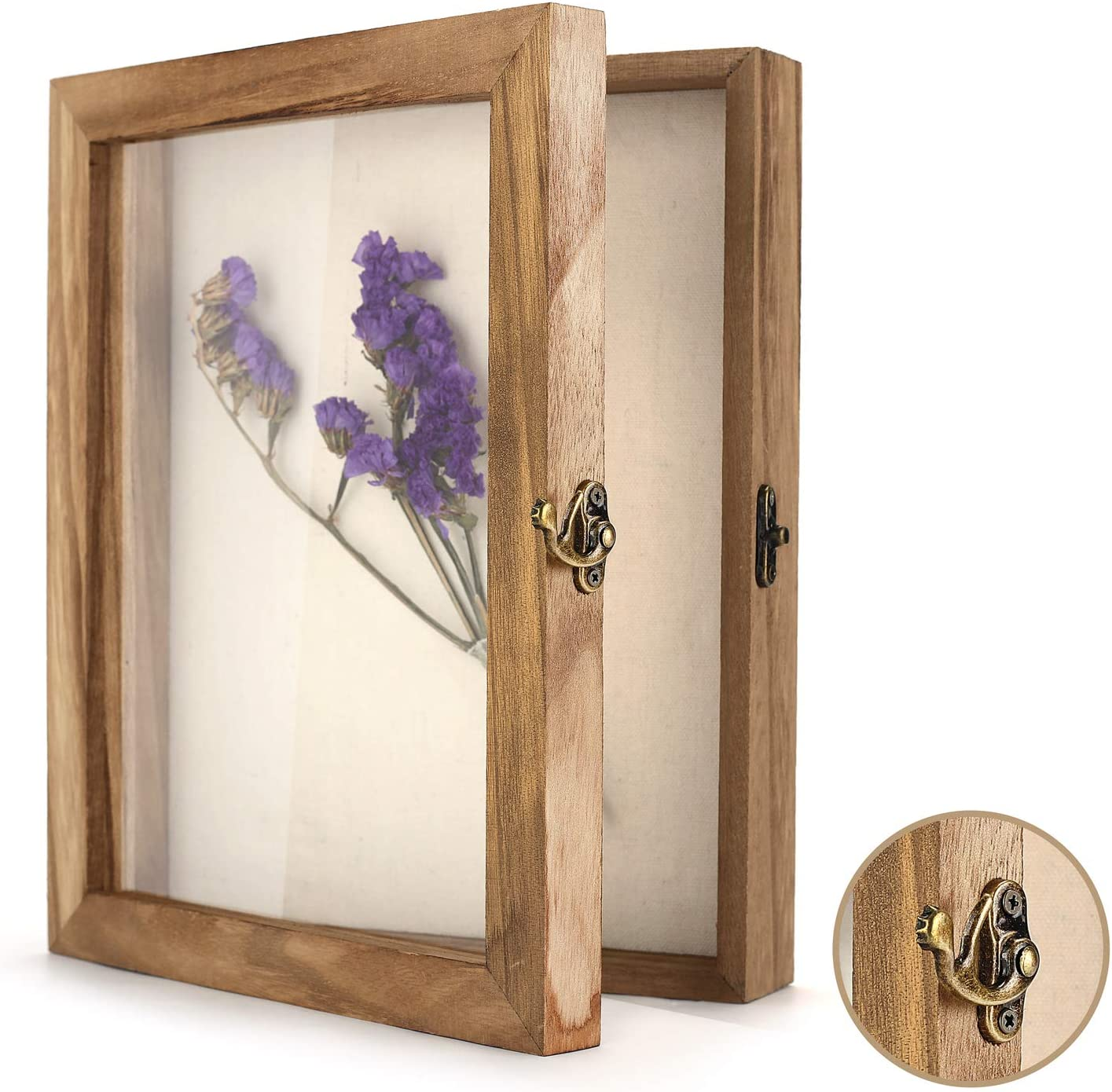 "TJ.MOREE Shadow Box Frame 8"" x 10"" Shadowbox Display Case Picture Frame with Linen Back Memorabilia Bouquet Medals Military Photos Memory Box"