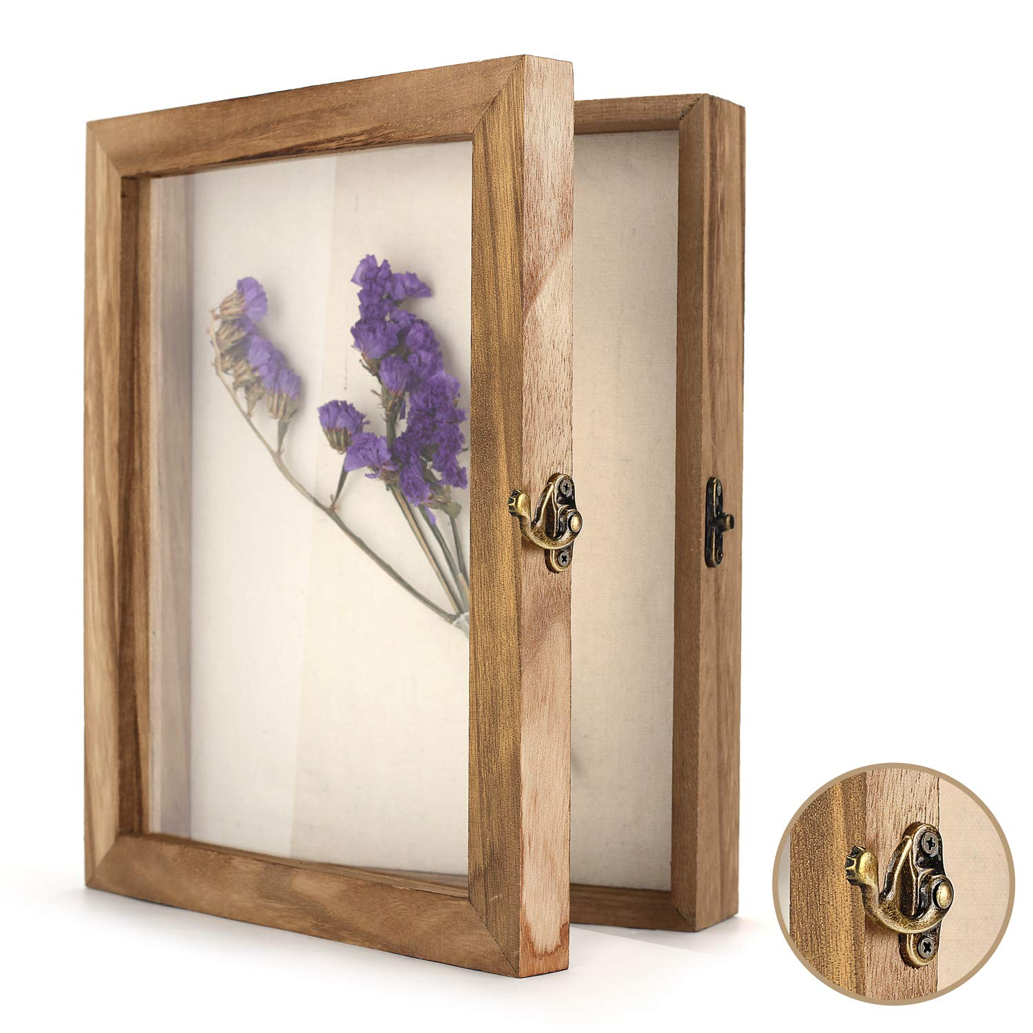 """TJ.MOREE Shadow Box Frame 8"""" x 10"""" Shadowbox Display Case Picture Frame with Linen Back Memorabilia Bouquet Medals Military Photos Memory Box"""