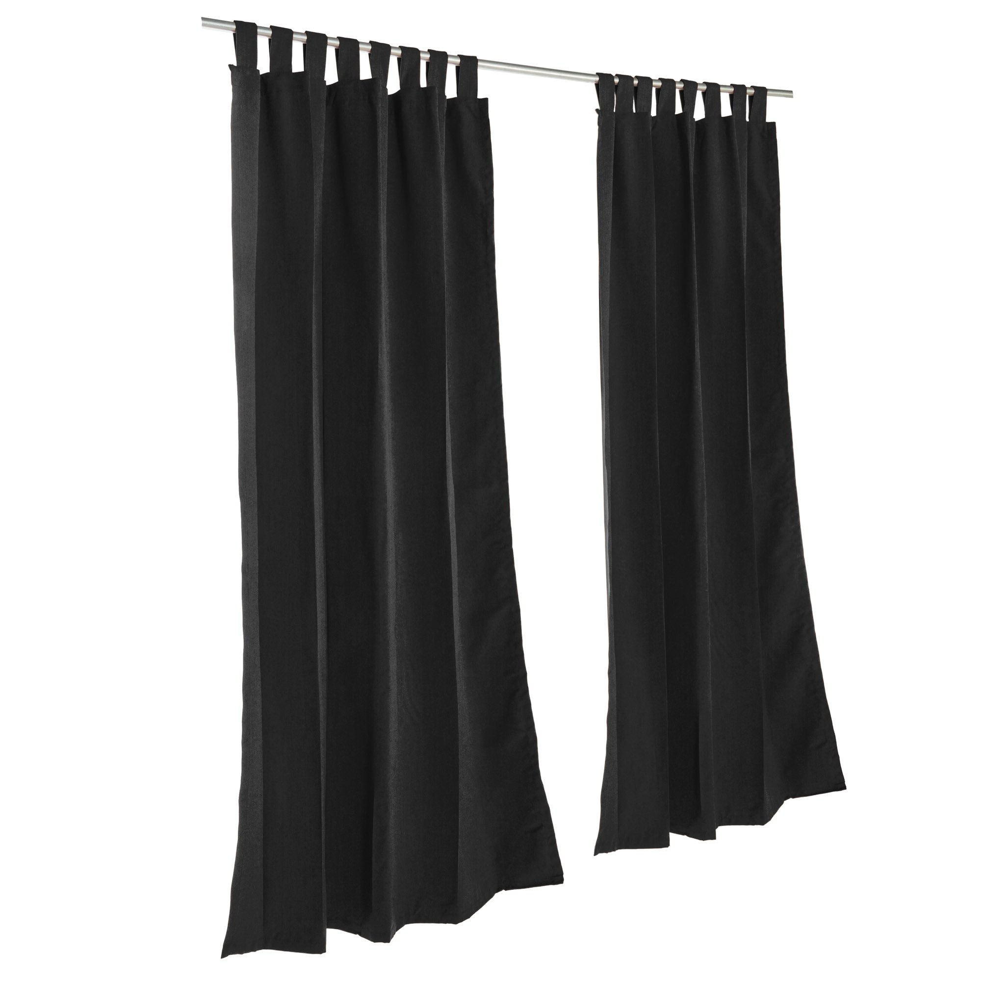 Essentials by DFO Black Sunbrella outdoor curtain with tabs 96 long