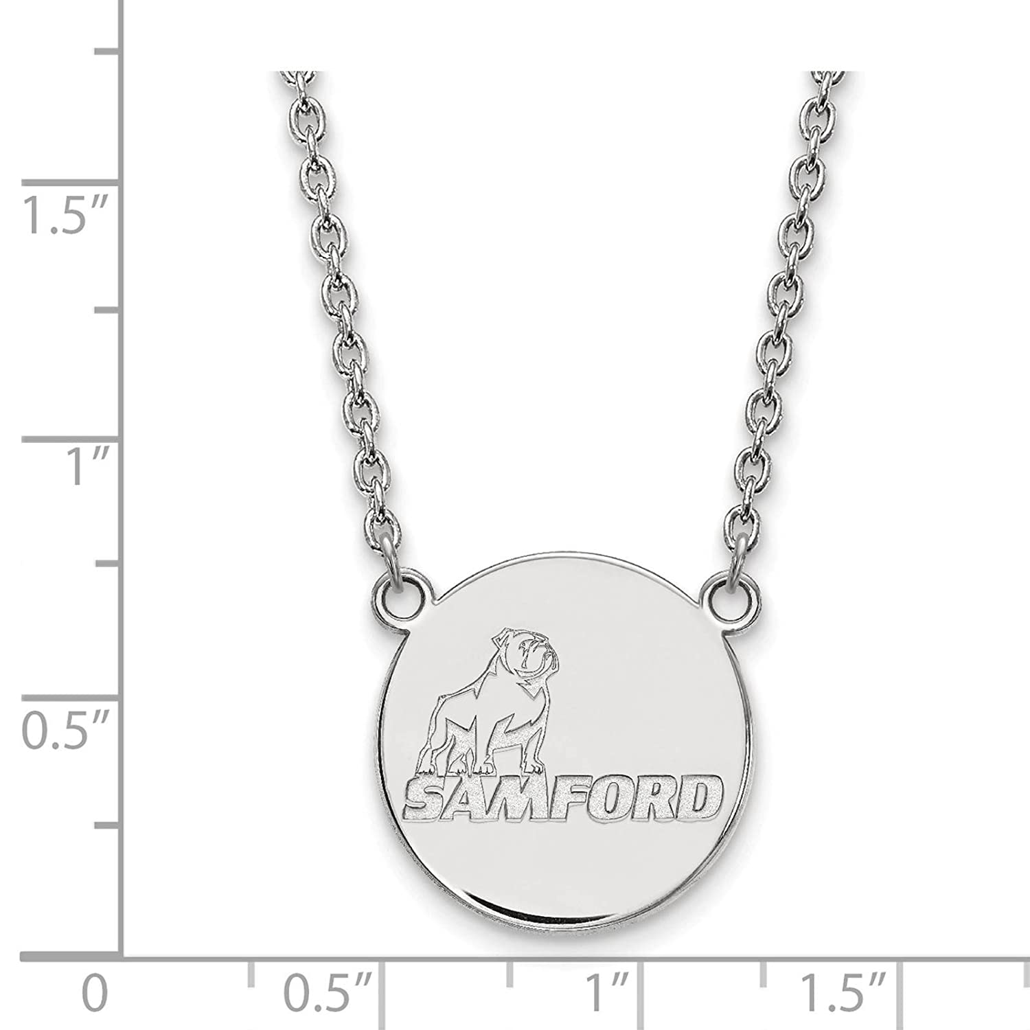 925 Sterling Silver Rhodium-plated Laser-cut Samford University Large Pendant w//Necklace 18
