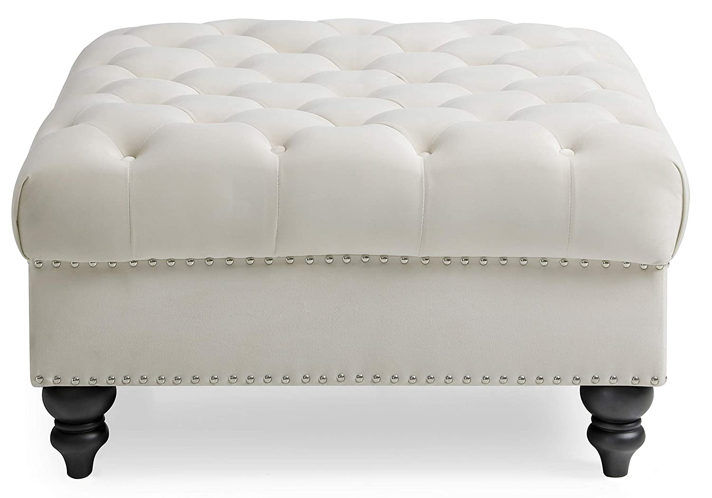 Amazon.com: Glory Furniture Nola G0357-O, otomano de marfil ...