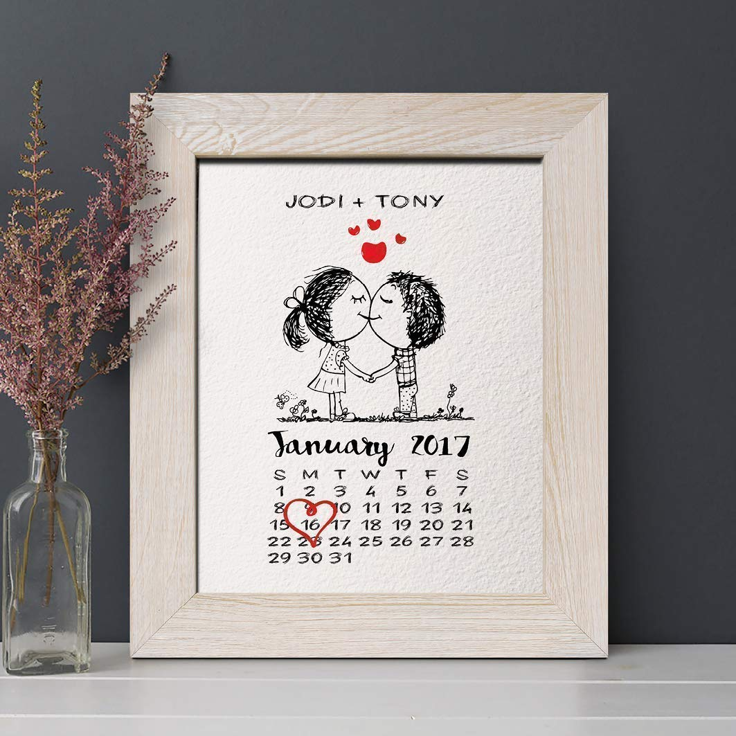 Personalised Valentines Couple Anniversary Print Gifts For Him Her Husband Wife