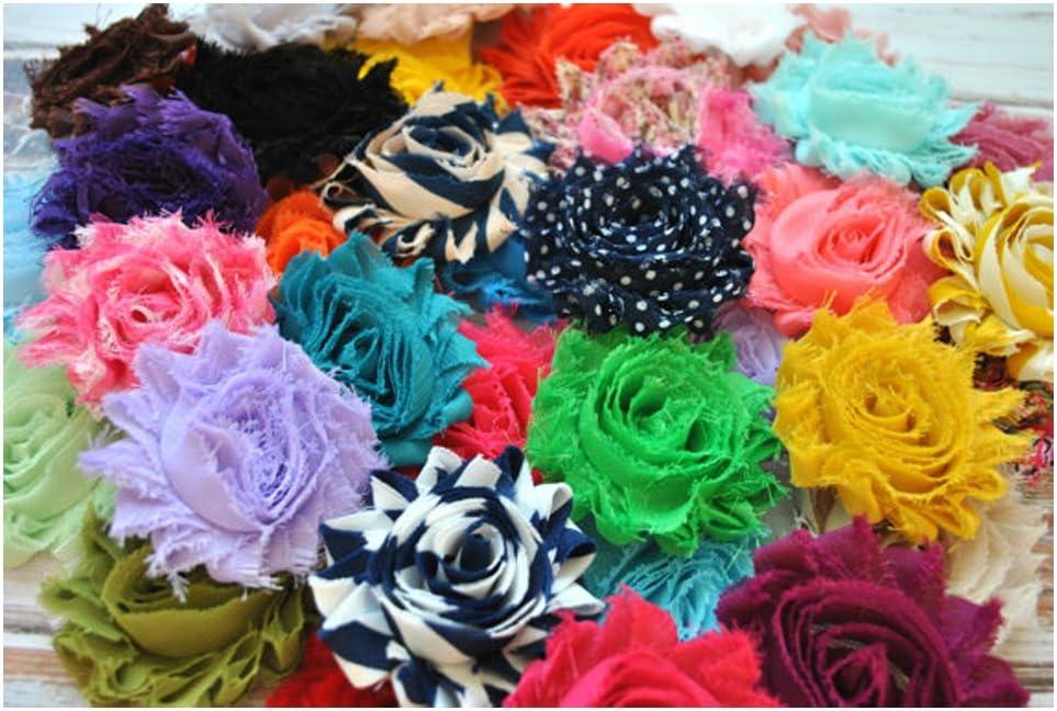 "200 pcs Grab bag 2.5/"" shabby chiffon rose trim fabric flowers DIY baby headbands"